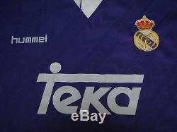 1993-1994 Real Madrid El Blanco Blancos Jersey Shirt Camiseta Away teka hummel L