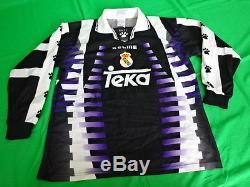 1997-1998 Real Madrid Retro Vintage Jersey Shirt Camiseta Third Teka KELME M L/S