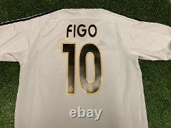 2003 2004 Real Madrid Luis Figo Adidas Home White Jersey Shirt Kit Large L 10