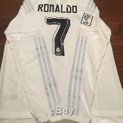 2015/16 Real Madrid Home Jersey #7 RONALDO Medium Long Sleeve LOS BLANCOS NEW