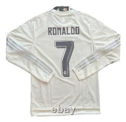 2015/16 Real Madrid Home Jersey #7 Ronaldo Small Long Sleeve LOS BLANCOS NEW