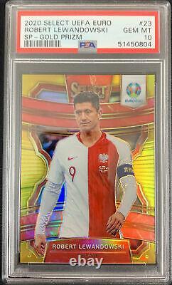 2019/20 Panini Select Uefa Euro Robert Lewandowski Sp Gold Prizm /10 Psa 10