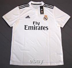 Adidas Men's Real Madrid Hoodie & Home Soccer Jersey, White/Black, Size L