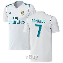 Adidas Real Madrid 2017 2018 C. Ronaldo #7 Home Soccer Jersey CR7 Kids Youth