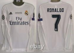 Adidas Real Madrid Champions Final 2016 Ls XL Ronaldo Long Original Jersey Shirt