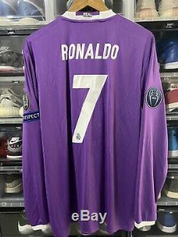 Adidas Real Madrid Ronaldo Away Jersey / Shirt 2016-17 sz XL Long Sleeve BNWT