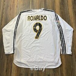 Auth Ronaldo Real Madrid Jersey 2004 2005 Soccer Long Sleeve Shirt Barcelona XL