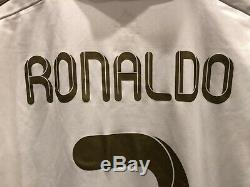 Authentic Cristiano Ronaldo Adidas Real Madrid Jersey 2011/12 Home White Gold M