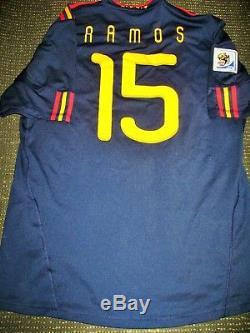 Authentic Ramos Spain 2010 WC Final Jersey Real Madrid Espana Camiseta Shirt XL