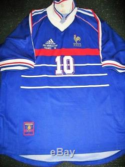 Authentic Zidane France 1998 WC Jersey Real Madrid Maillot Shirt Juventus L