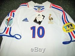 Authentic Zidane France 2000 EURO Jersey Real Madrid Maillot Shirt Trikot L NEW