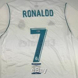 Autographed/Signed CRISTIANO RONALDO Real Madrid White Jersey Beckett BAS COA