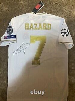 Camiseta Eden Hazard Del Real Madrid Firmada Handsigned Signed Champions Jersey