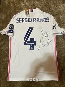 Camiseta Sergio Ramos Del Real Madrid Firmada Handsigned Signed Champions Jersey
