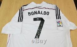 Cristiano Ronaldo Auto Autograph Signed Real Madrid White Jersey Psa / Dna