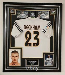 David Beckham of Real Madrid Signed photo with Shirt Autographed Jersey Display