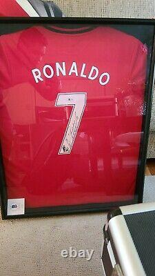 FRAMED Cristiano Ronaldo Autographed Manchester United Jersey Beckett
