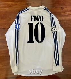 Figo, 2001-02 Real Madrid Home CL LS Centenary Match Issue Un Worn Shirt Size L