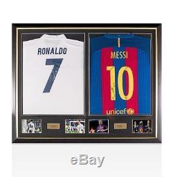 Framed Cristiano Ronaldo Real Madrid & Lionel Messi Barcelona Signed Shirts Du