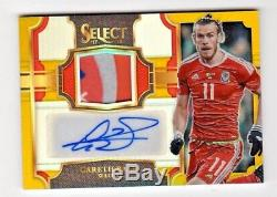 Gareth Bale 2017-18 Select Jersey Autographs Prizms Gold #5/7 Wales, Real Madrid