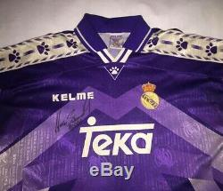 HUGO SANCHEZ & ROBERTO CARLOS signed autographed Real Madrid 90s Jersey PROOF