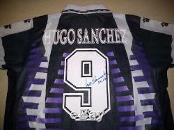 HUGO SANCHEZ signed autographed Real Madrid 90s Retro Jersey PROOF Mexico Legend