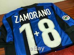 INTER MILAN home 1999/00 shirt ZAMORANO #1+8-Chile-Real Madrid-Maglia-Jersey (M)