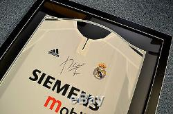 Luis Figo Signed Shirt Framed Autograph Real Madrid Memorabilia Jersey + COA