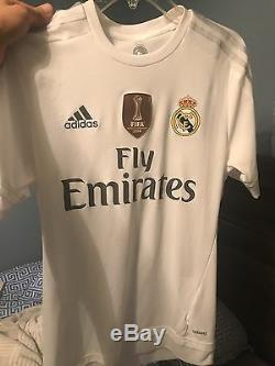 Mens adidas Cristiano Ronaldo White Real Madrid 2015/16 Home Authentic Player