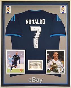 Premium Framed Cristiano Ronaldo Signed Real Madrid Adidas Jersey Shirt PSA