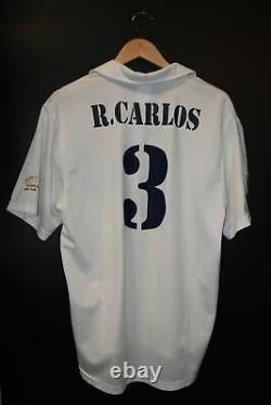 REAL MADRID ROBERTO CARLOS 2001-2002 ORIGINAL JERSEY Size L (VERY GOOD)