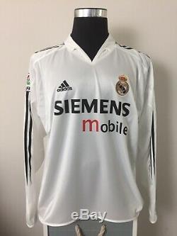 RONALDO #9 Real Madrid Long Sleeve Home Football Shirt Jersey 2004/05 (L)