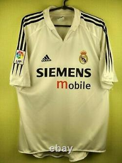 Raul Real Madrid jersey large 2004 2005 home shirt Adidas football soccer white