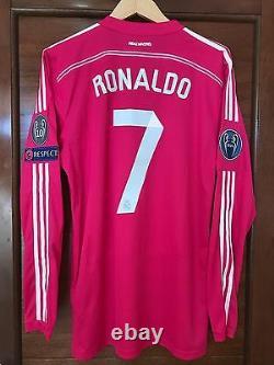 Real Madrid 2014-2015 Ronaldo pink Adizero Champions League player issue jersey