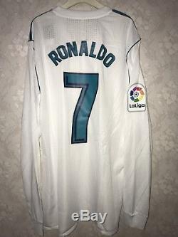 012f28ff Real Madrid 2017-18 La Liga Adizero Player Issue Ronaldo Jersey RARE Long  Sleeve