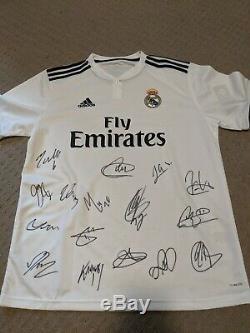 Real Madrid 2018/19 Signed Home Jersey COA Ramos Navas Kroos Modric Bale