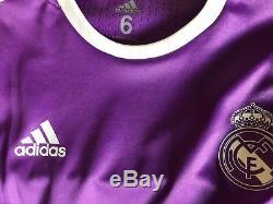 Real Madrid Adizero 16/17 Player Issue Away Jersey Long Sleeve match worn ramos