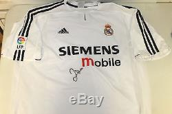 Real Madrid David Beckham Hand Signed Jersey Unframed + Photo Proof & C. O. A