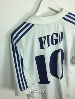 Real Madrid FIGO #10 2001 Home Football Shirt (L) Soccer Jersey Adidas