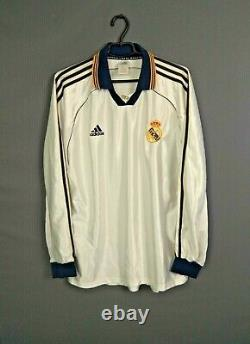 Real Madrid Jersey Player Issue 1998 2000 Long Sleeve XL Shirt Spain Adidas ig93