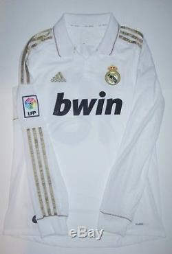 Real Madrid Mesut Ozil Adidas Kit 2011 Long Sleeve Jersey White Gold Germany