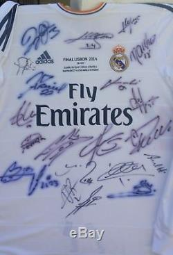 Real Madrid Spain Signed Shirt Jersey Proof #4 Ramos+bale+benzema+ronaldo+zidane