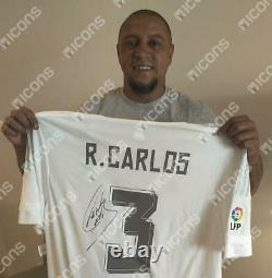 Roberto Carlos Back Signed Real Madrid 2015-16 Home Shirt Autograph Jersey