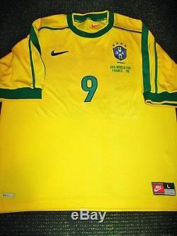 Ronaldo Brazil 1998 WC Jersey Shirt Camiseta Barcelona Real Madrid Maglia L