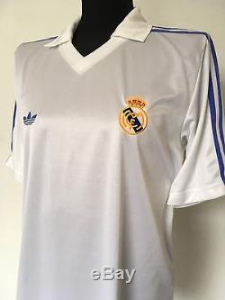 SANCHEZ #9 Real Madrid Adidas Originals Home Football Shirt Jersey 1985/86 (L)