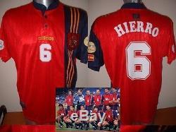 Spain Espana Shirt Jersey HIERRO XL Euro 96 Adidas Football Soccer Real Madrid